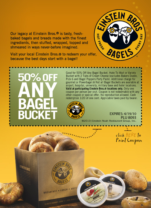 When you're hungry for Einstein Brothers Bagels, you'll always get the best deal using one of the 10 coupons they currently have available for December. New coupons are always being added, helping you save more money when the check comes. When you're craving a good bagel, Einstein .
