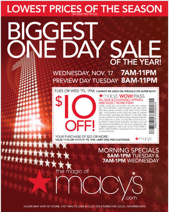 graphic about Tuesday Morning Printable Coupons known as Macys sale tomorrow : Marisota price cut codes recent potential buyers