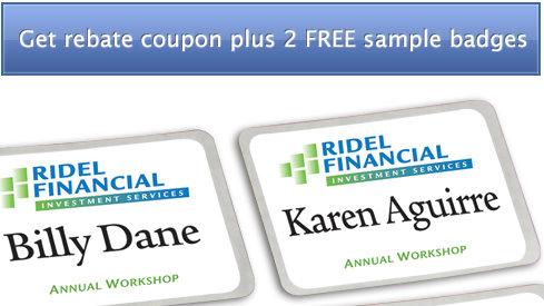 Name badges coupon code