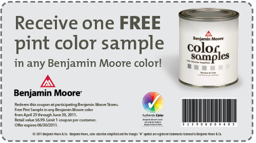 FREE Sample Pint of Paint at Participating Benjamin Moore Stores ...