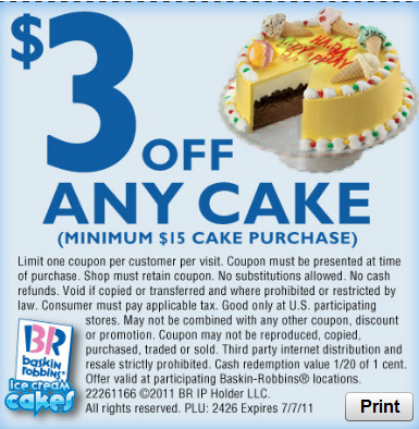 Baskin Robbins Ice Cream Cake Coupon