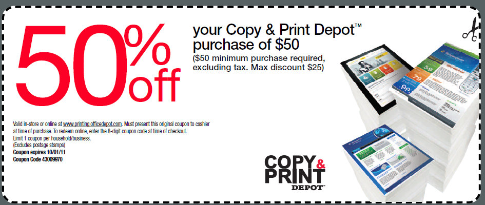 25 off copy print purchase of 50 or more coupon at office depot kroger krazy - Office depot discount code ...