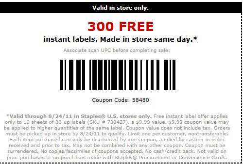 Staples free in store instant labels kroger krazy for Can you print stickers at staples