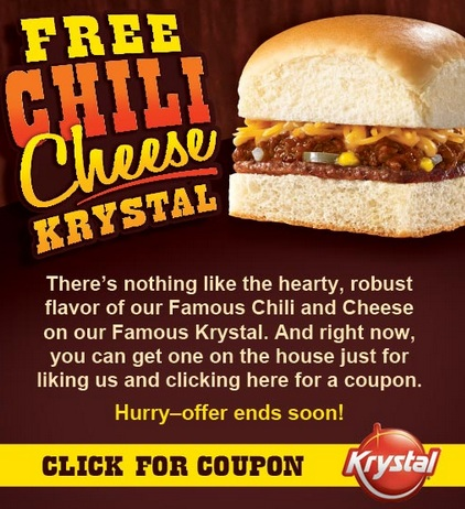 graphic about Krystal Printable Coupons named Cost-free Chili Cheese Krystal Coupon! Kroger Krazy
