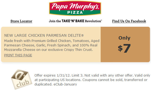 photo relating to Papa Murphy's Coupon Printable named Major Bird Parmesan Pizza for $7.00 at Papa Murphys