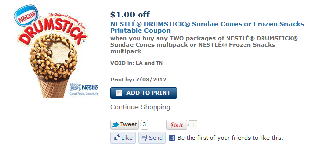 Coupon nestle drumstick