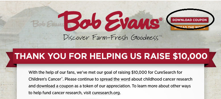 Bob evans coupons for june 2018