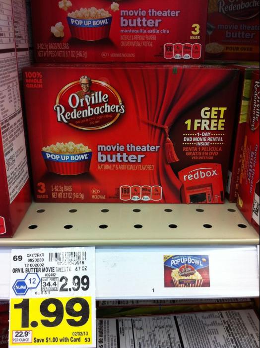 Orville Redenbacher's Popcorn for $1.62 at Kroger + FREE Redbox Rental!  Kroger Krazy
