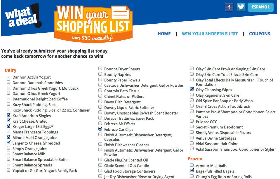 win your list kroger