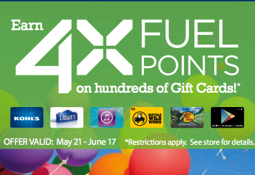 4x fuel points gift cards