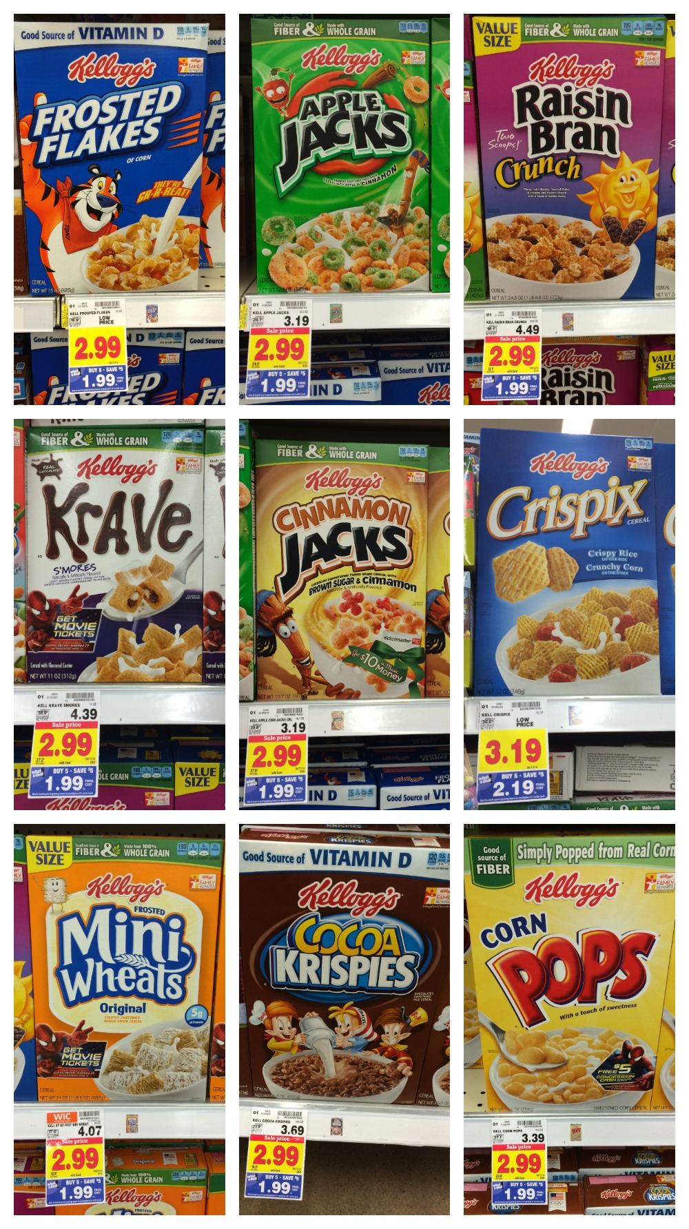 Kelloggs cereal full inclusion list