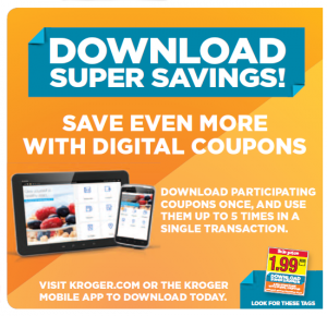 Details: Use manufactures coupons against in-store coupons to save extra on each product you buy. Sign-up to receive in-store coupons through Kroger and watch the savings stack-up. Sign-up to receive in-store coupons through Kroger and watch the savings stack-up.