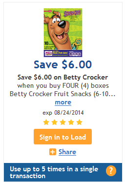 Betty Crocker Fruit Snacks Kroger Digital Coupon