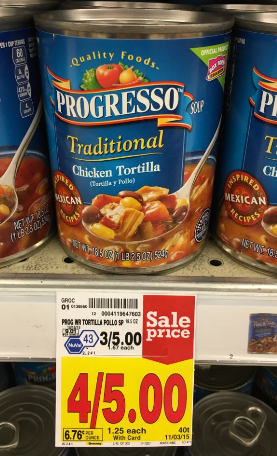 There is a great deal coming up next week on Progresso Soup at Walgreens! Progresso will be on sale for 4 for $5 with an in-ad coupon! You can combine this sale with a $1/4 coupon and get four cans for $1 each! Print your coupon while available so you will be ready for the sale. -$1/4 Progresso products, excl Pasta Bowl printable.