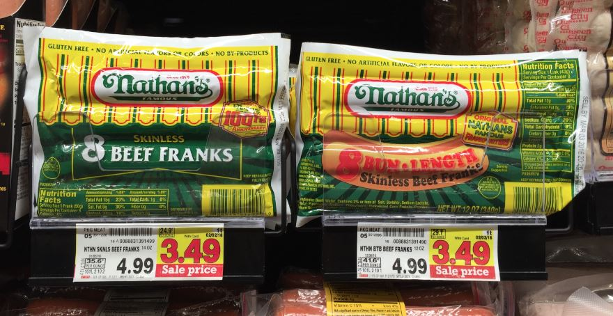 graphic about Nathans Printable Coupons named Nathans Skinless Scorching Canine as lower as $2.99 at Kroger