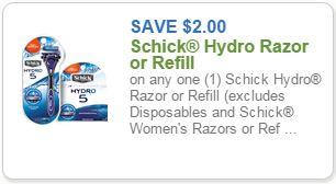 Schick hydro refill coupon