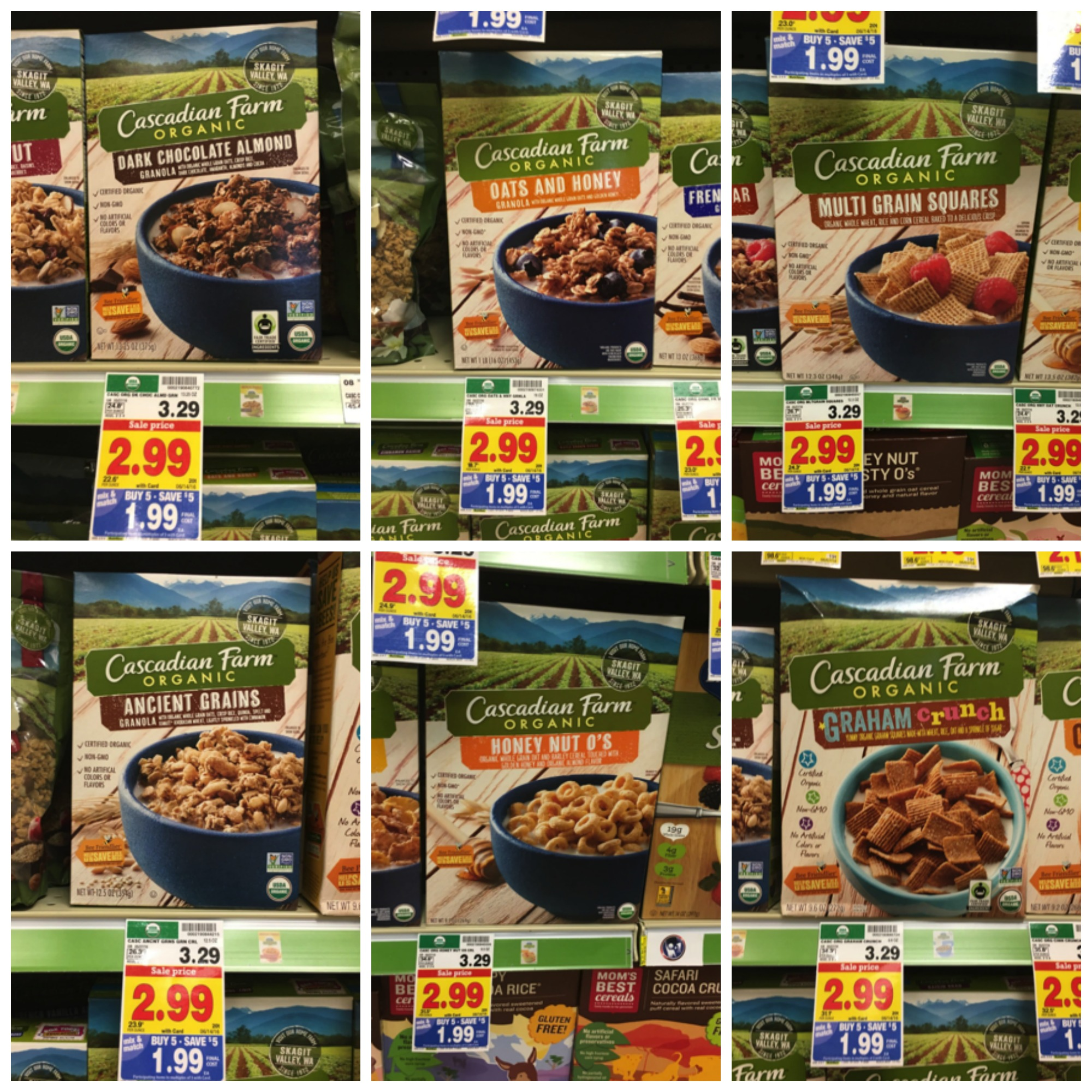 cascadian farm cereal collage