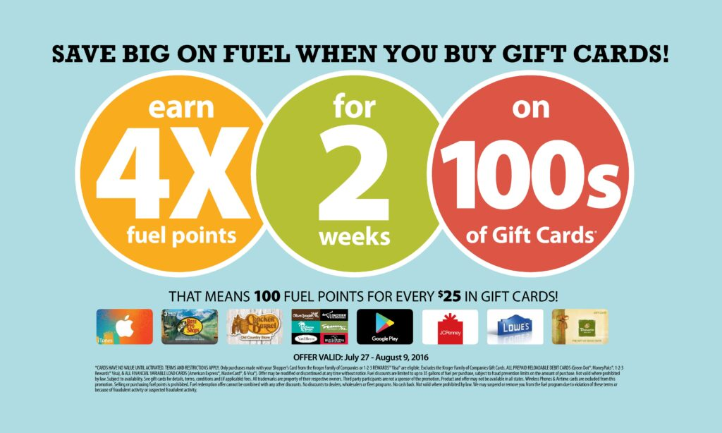 4x Fuel Points When You Buy Gift Cards 50 Kroger Gift Card