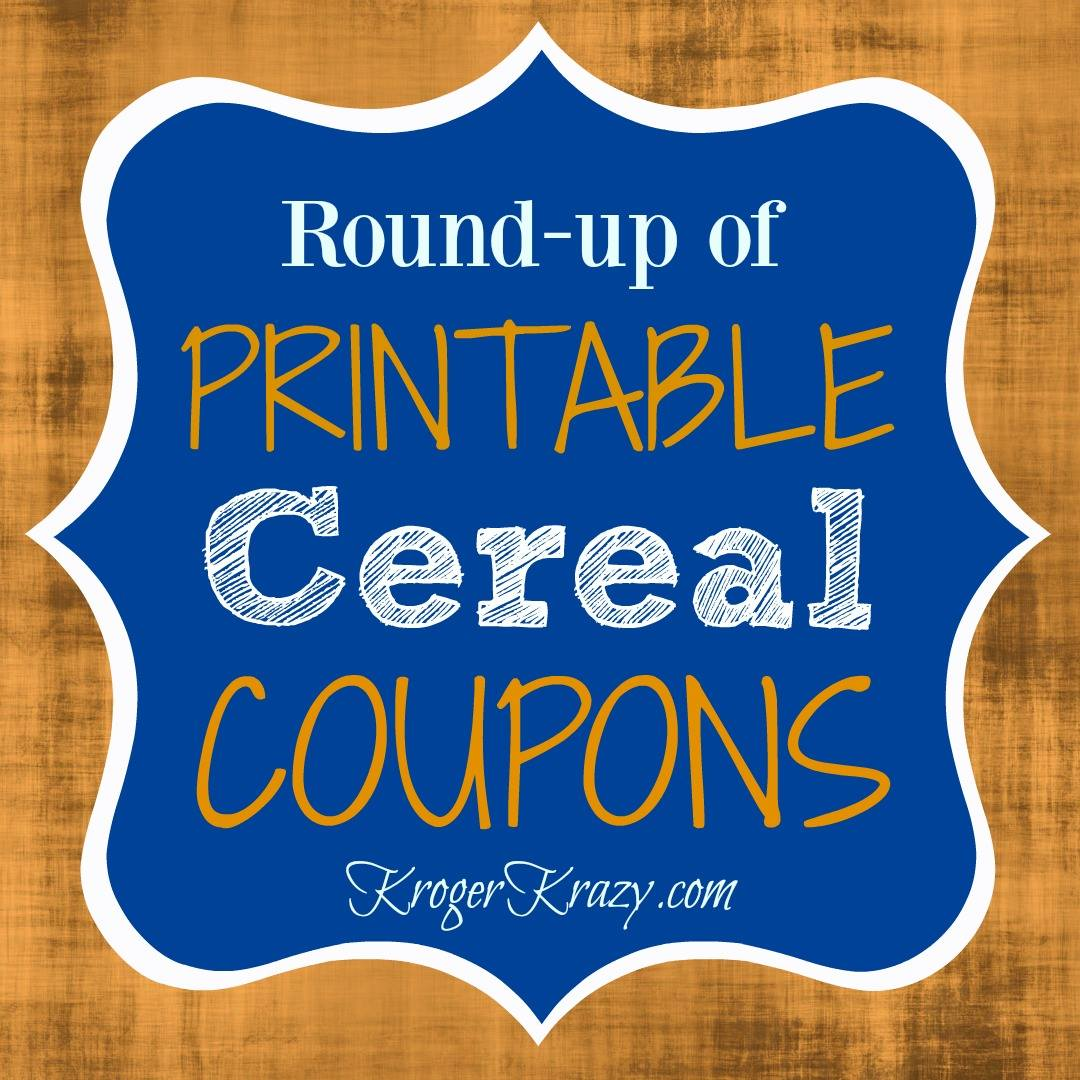 image relating to Printable Cereal Coupons titled Roundup of Printable Cereal Discount codes Kroger Krazy