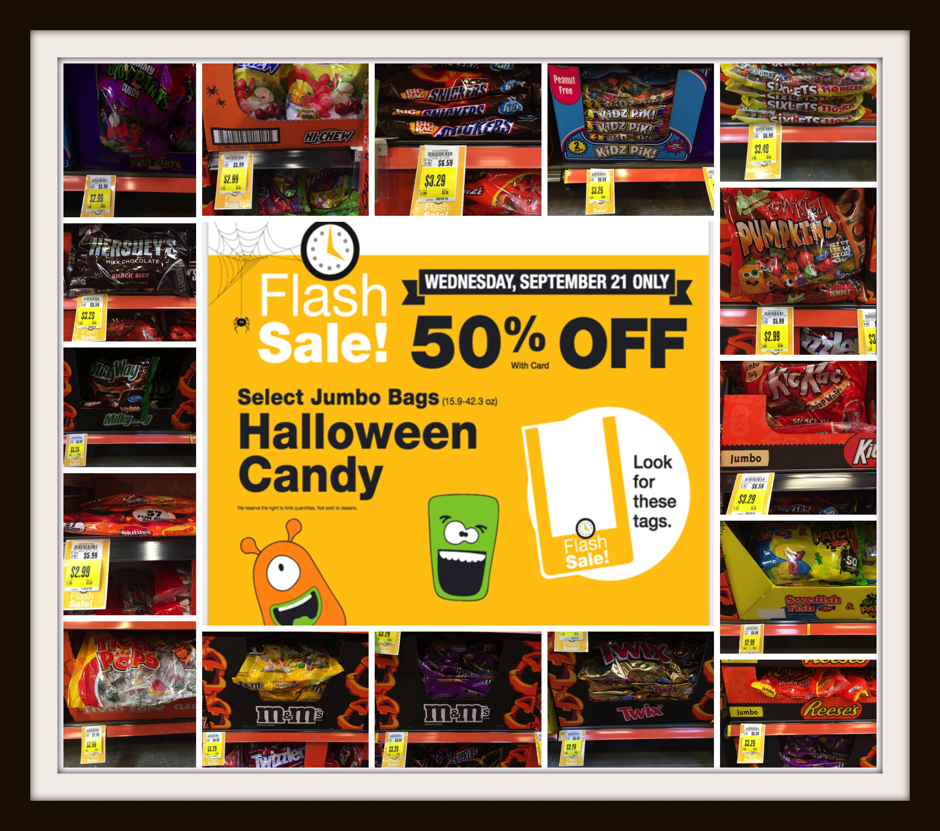 50% off halloween candy flash sale at kroger today (9/21) only