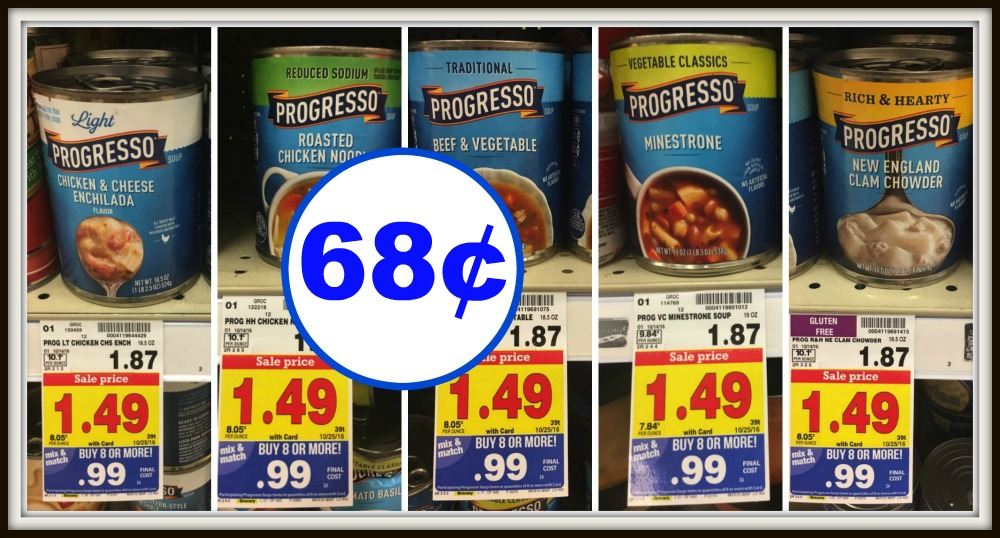 graphic relating to Printable Progresso Soup Coupons named Refreshing Progresso Coupon Canned Soup Basically $0.68 every single at Kroger