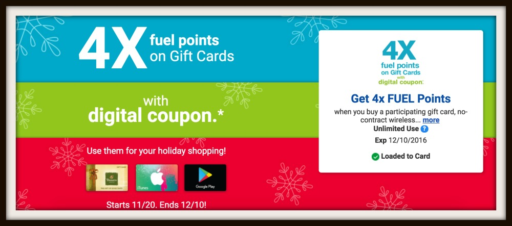 Reminder 4x Kroger Fuel Points On Gift Cards Must Download Coupon