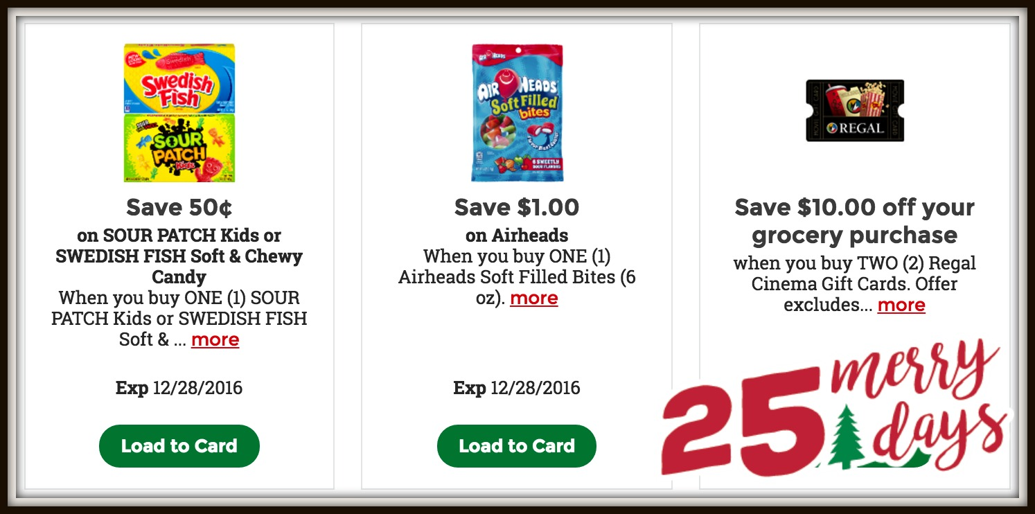 e1645a4200f0f We are on day 20 of the Kroger 25 Merry Days! Every day through December 19  you'll be able to load a few special digital coupons to your card.