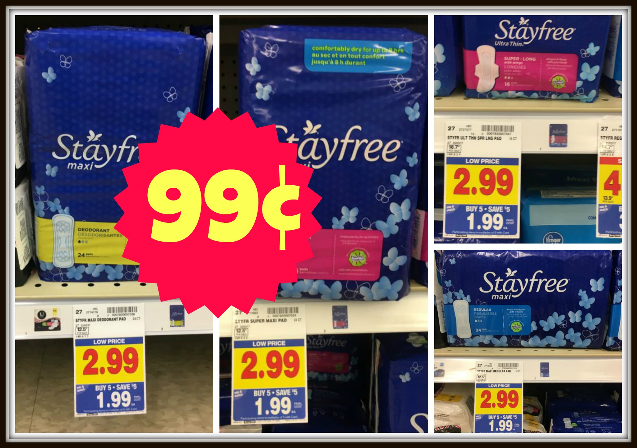 graphic relating to Stayfree Printable Coupon identified as Clean Stayfree Coupon \u003d Pads Merely $0.99 with Kroger Mega Party