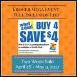 Kroger Mega Full Inclusion List April 2017
