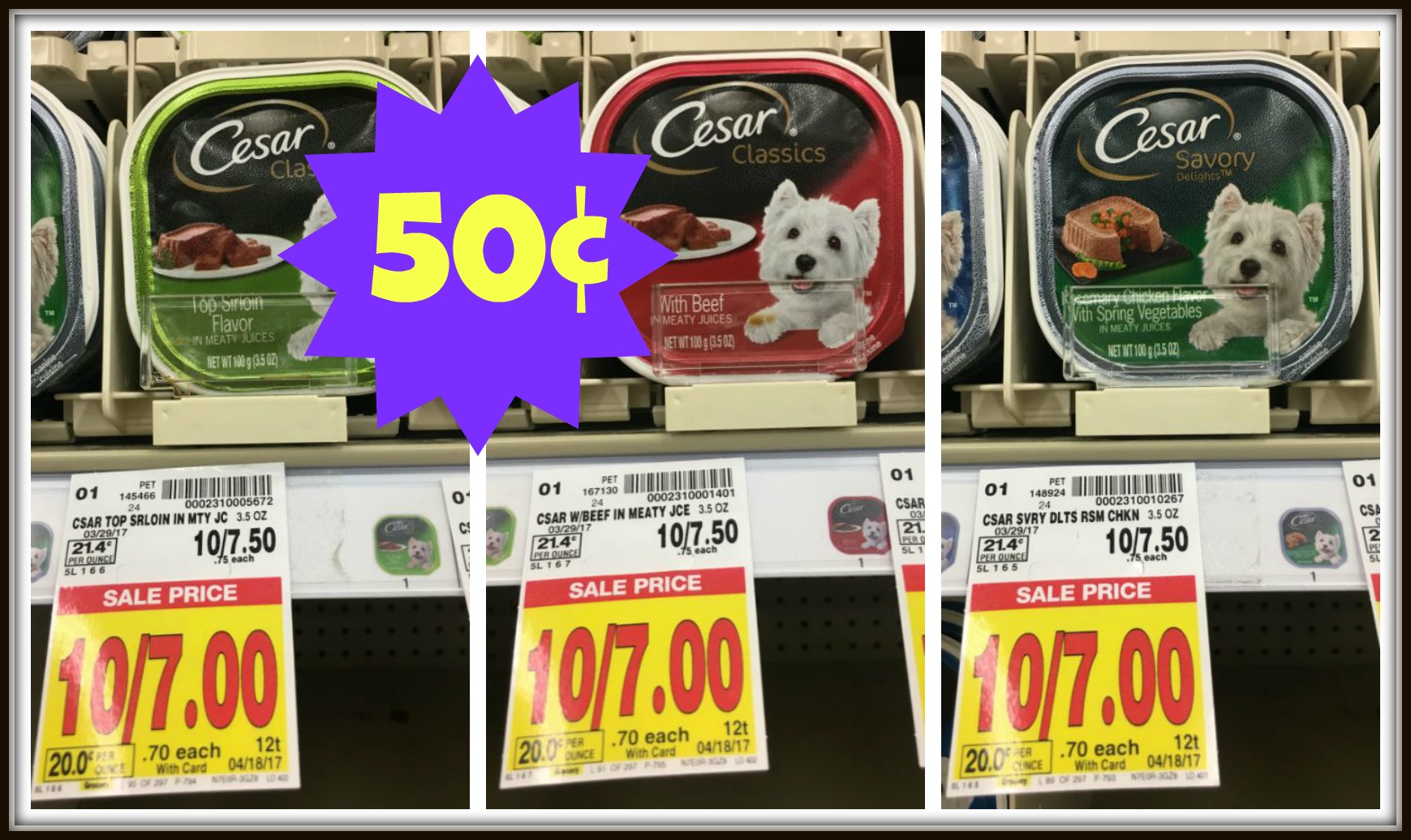 picture about Caesars Dog Food Printable Coupons known as Cesar Soaked Pet Foods Just $0.50 at Kroger!! Kroger Krazy
