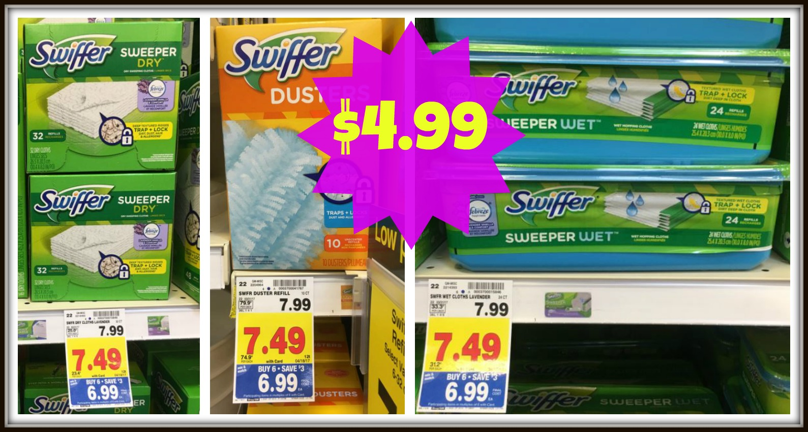 image regarding Swiffer Coupons Printable identify Contemporary $2.00 Swiffer Discount codes Refills Just $4.99 with Kroger