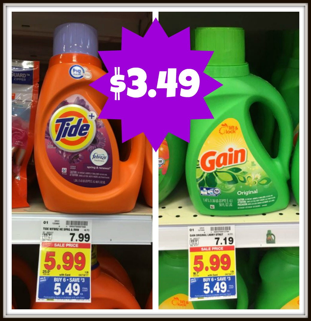 Tide And Gain Liquid Laundry Detergent Only 3 49 With Kroger Mega