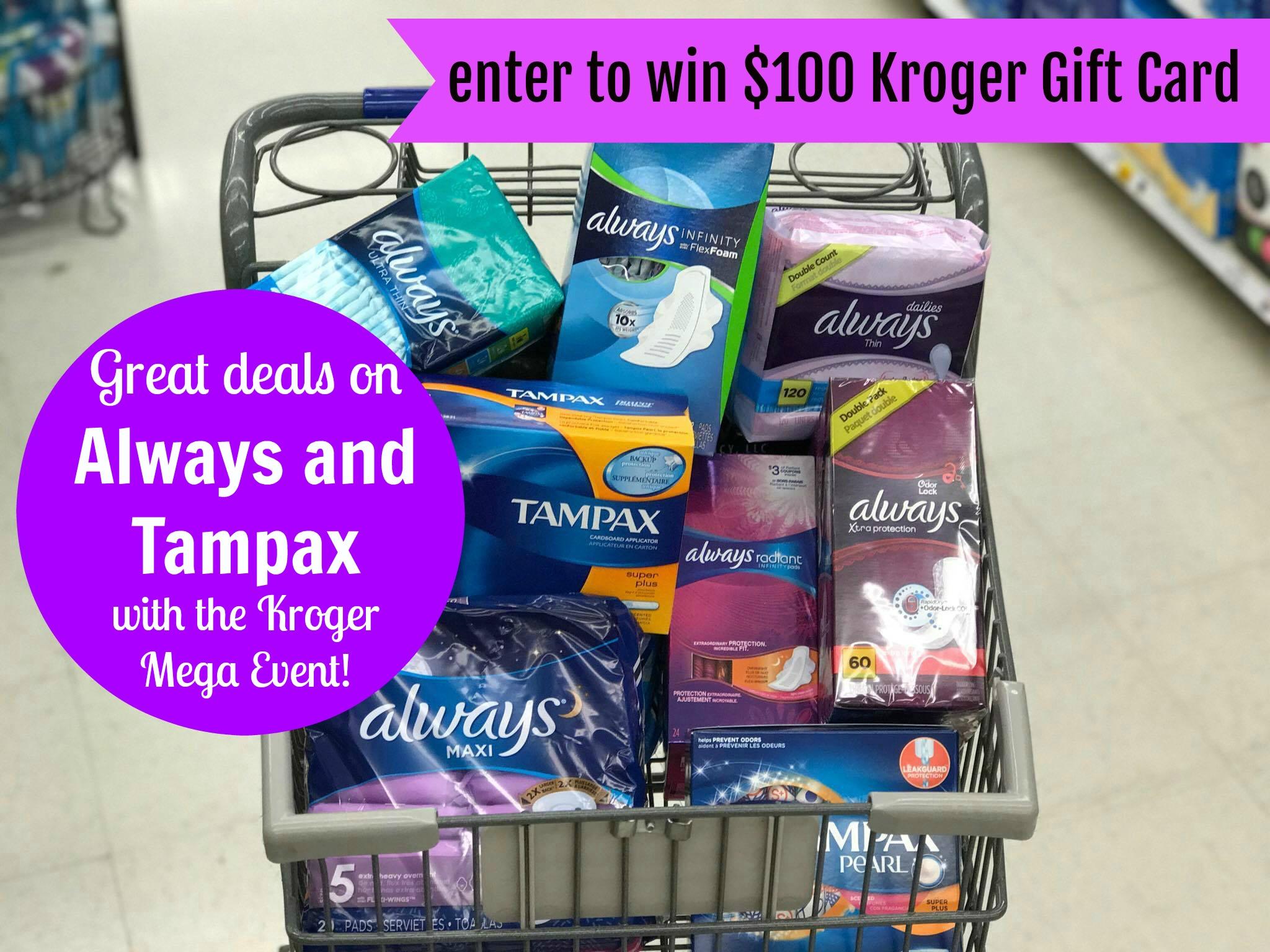 always and tampax kroger mega event deals enter to win a 100 kroger gift card kroger krazy. Black Bedroom Furniture Sets. Home Design Ideas