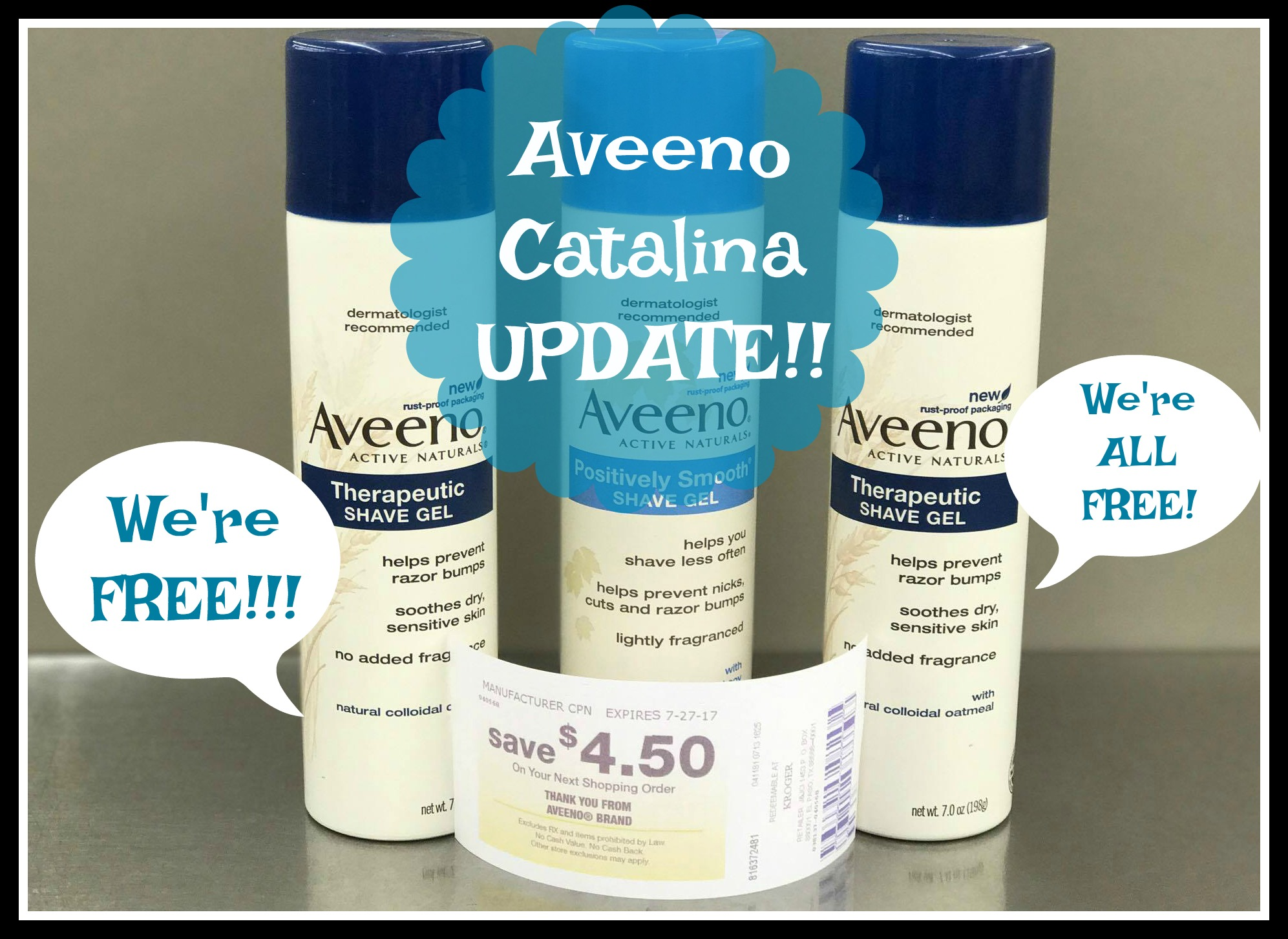 *Aveeno Catalina Update* Get THREE Shave Gels for FREE at Kroger!! - Kroger Krazy
