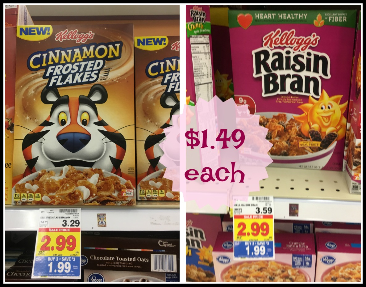 Kelloggs Raisin Bran And Cinnamon Frosted Flakes As Low 149 Corn Deal Cereals Are In Our Mini Breakfast Mega At Kroger For Some Great Prices Check Out The New Or Coupon