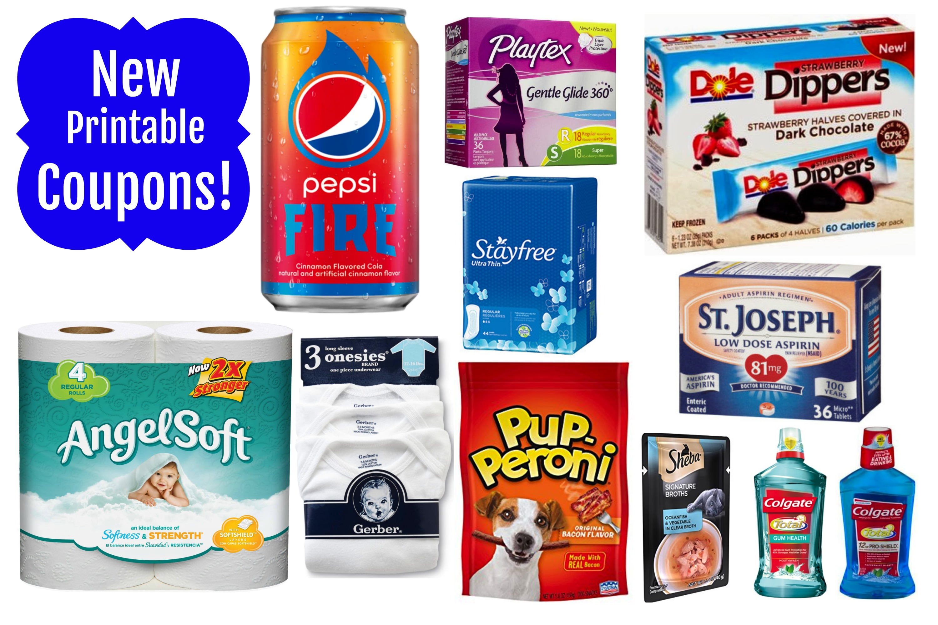 New Printable Coupons Angel Soft Stayfree Colgate Dole Pepsi
