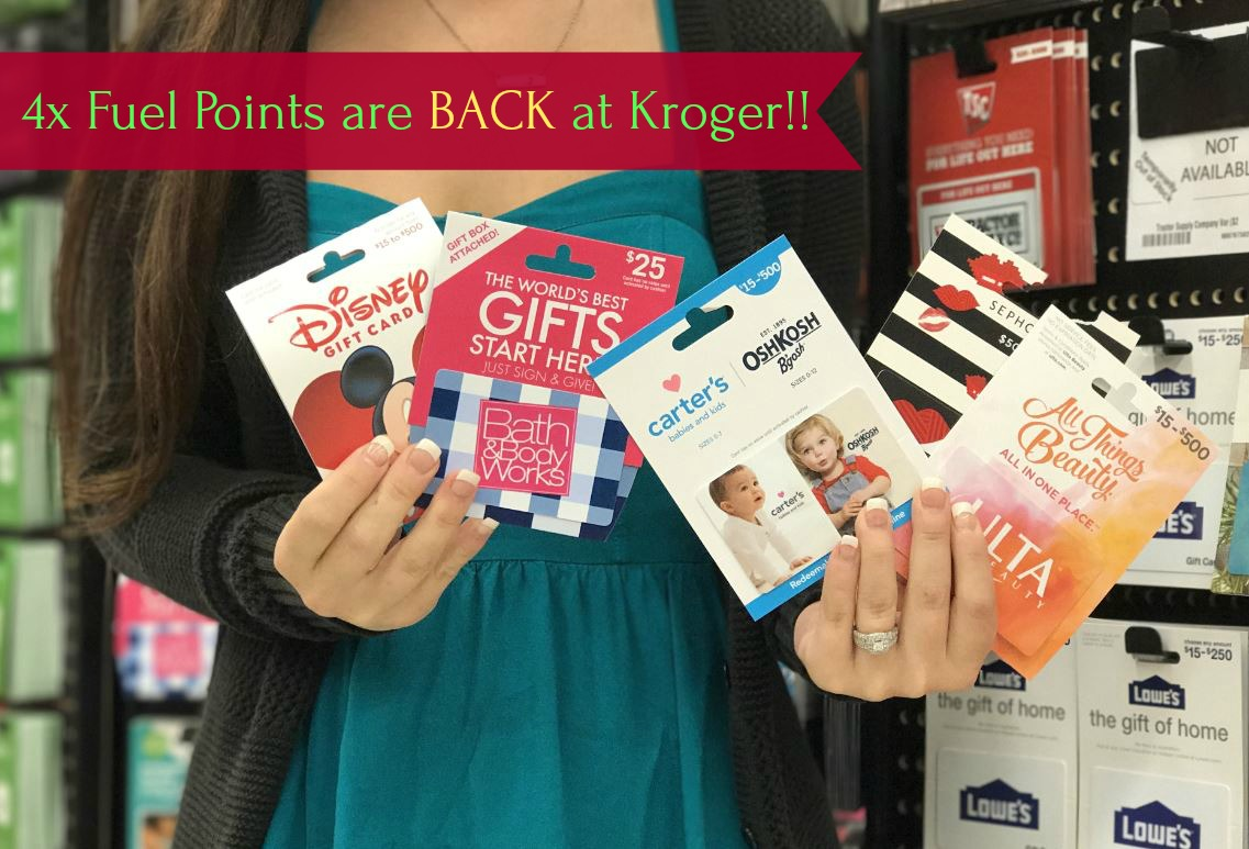 Kroger 4x Fuel Points on Gift Cards (must download coupon ...