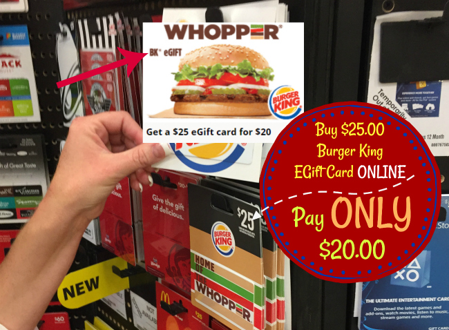 buy burger king egift card and pay only that 39 s 20 off print at home or email. Black Bedroom Furniture Sets. Home Design Ideas