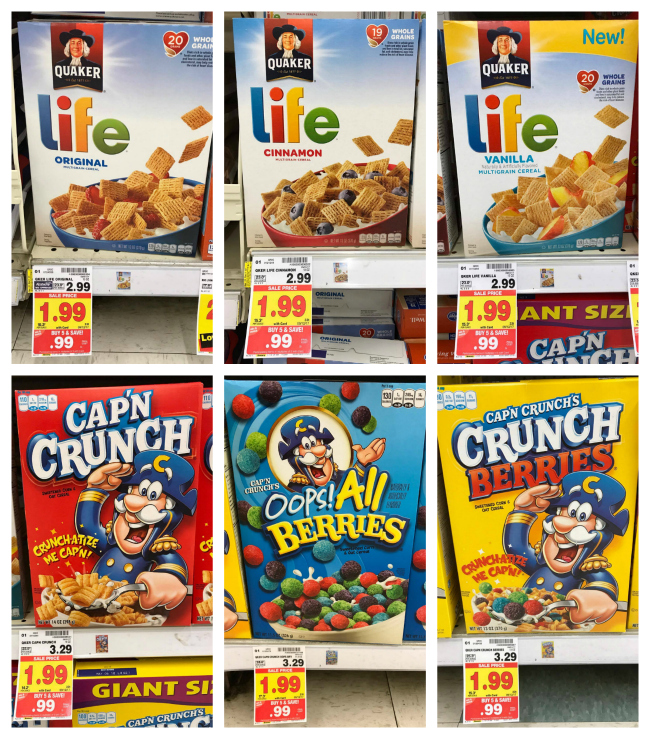 Quaker Cap'n Crunch And Life Cereal ONLY $0.49 At Kroger