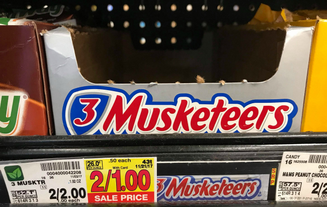 3 musketeers bar 3 musketeers candy bars only 025 at kroger reg 100