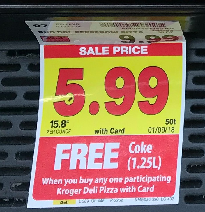 Buy a Kroger Pizza on sale for 599 and Get 125 Liter of Coke