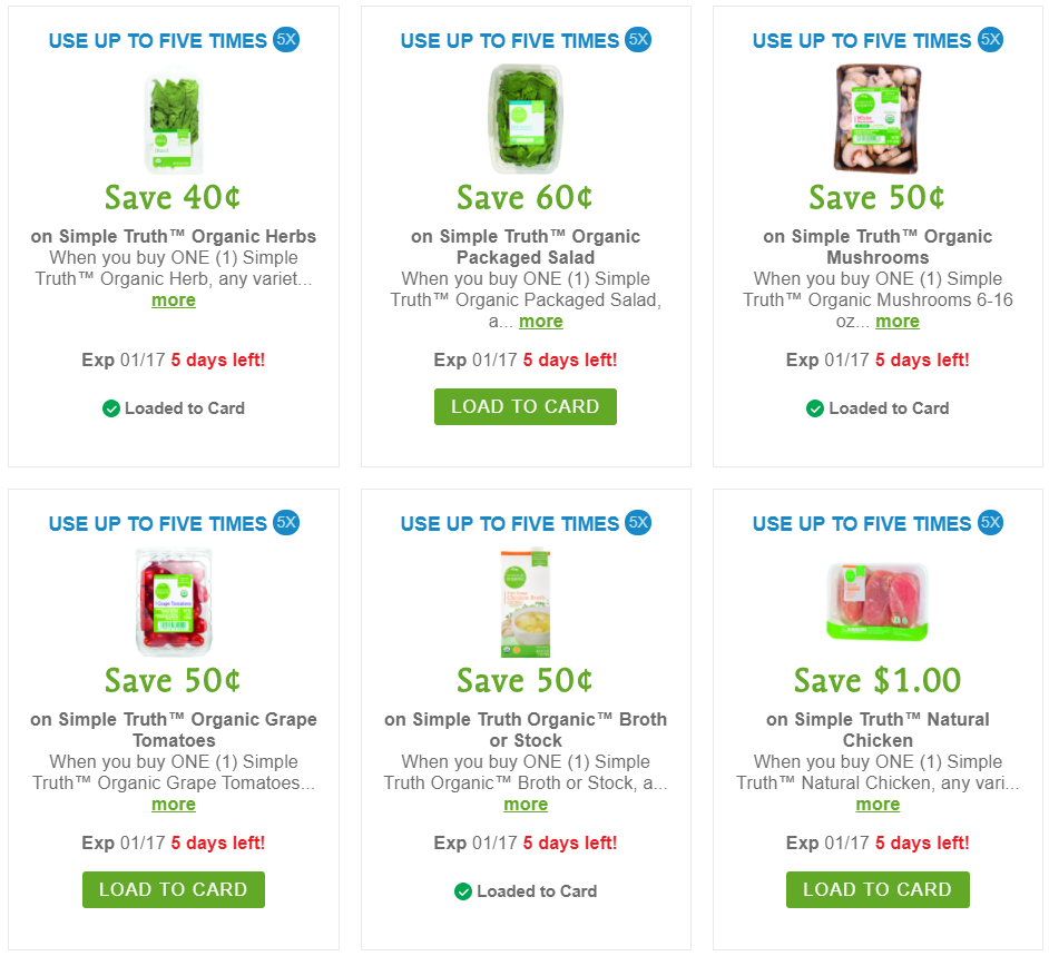 Download your Simple Truth Kroger Digital Coupons (Limit 5