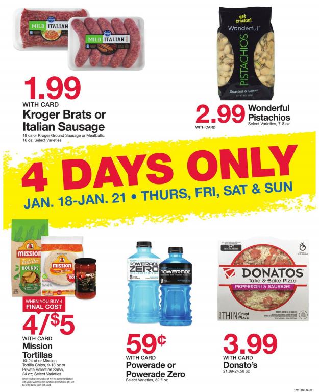 Kroger 4-Day Sale | $1 99 Kroger brand Brats, Sausage, $1 25 Mission