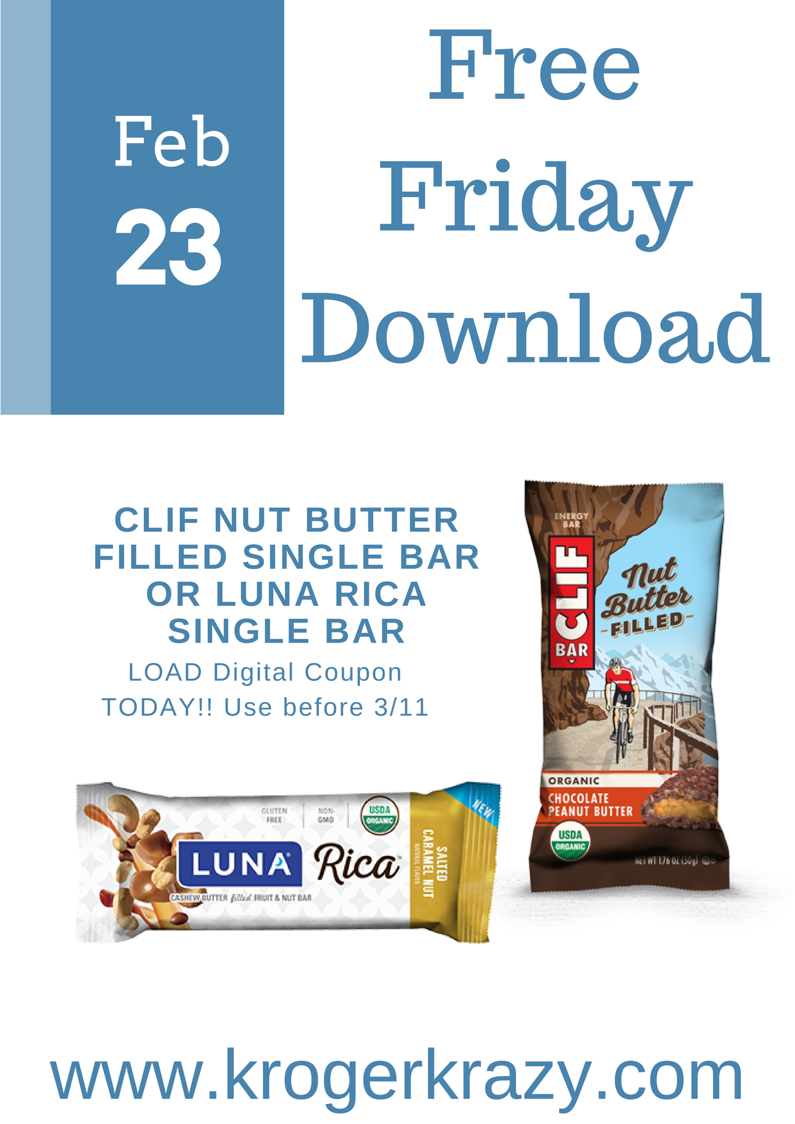 picture about Clif Bar Printable Coupon identified as Cost-free Friday Down load Clif Nut Butter Stuffed Solitary Bar OR