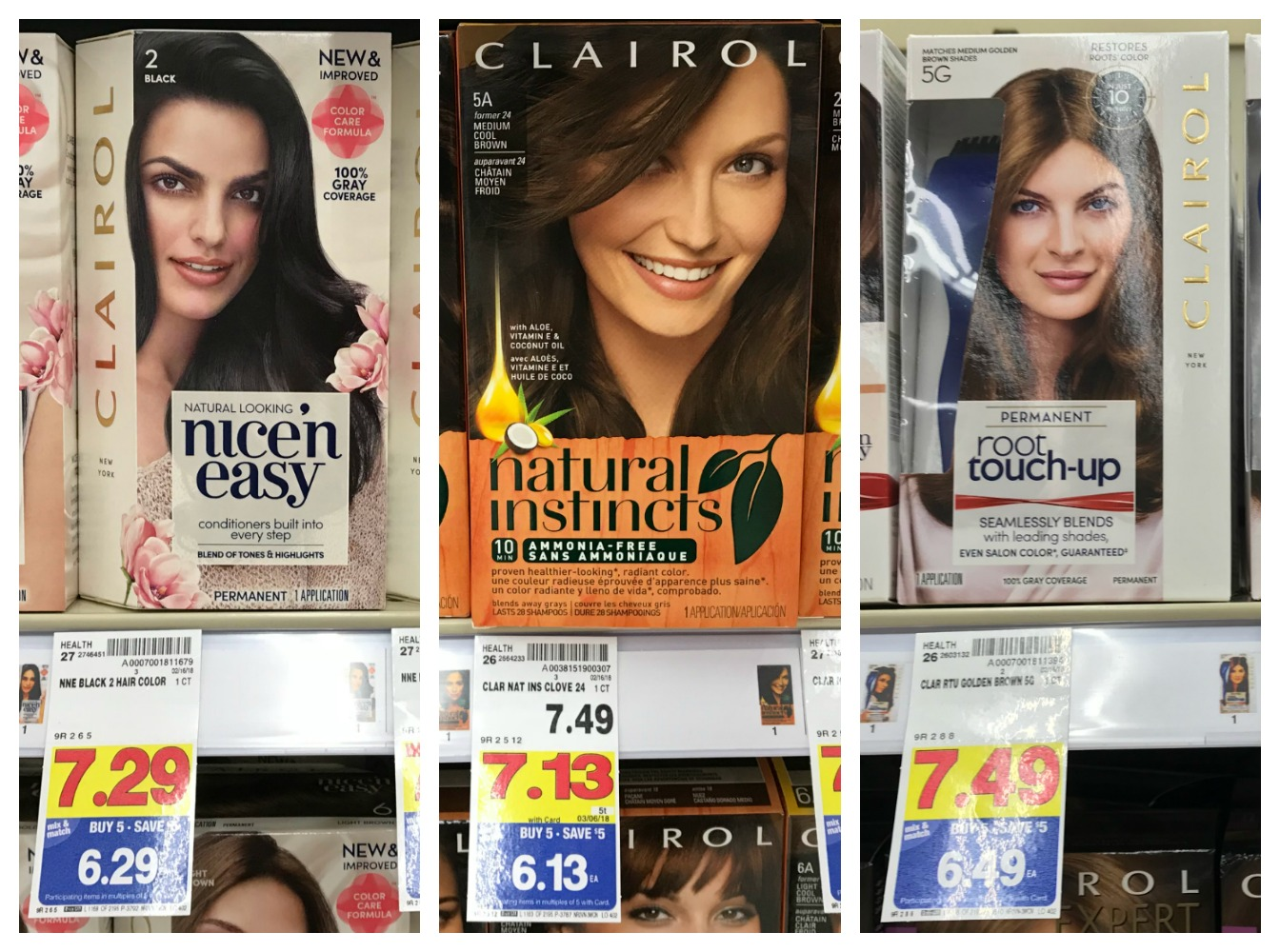 Clairol Nicen Easy Root Touch Up And Natural Instincts Hair Colors