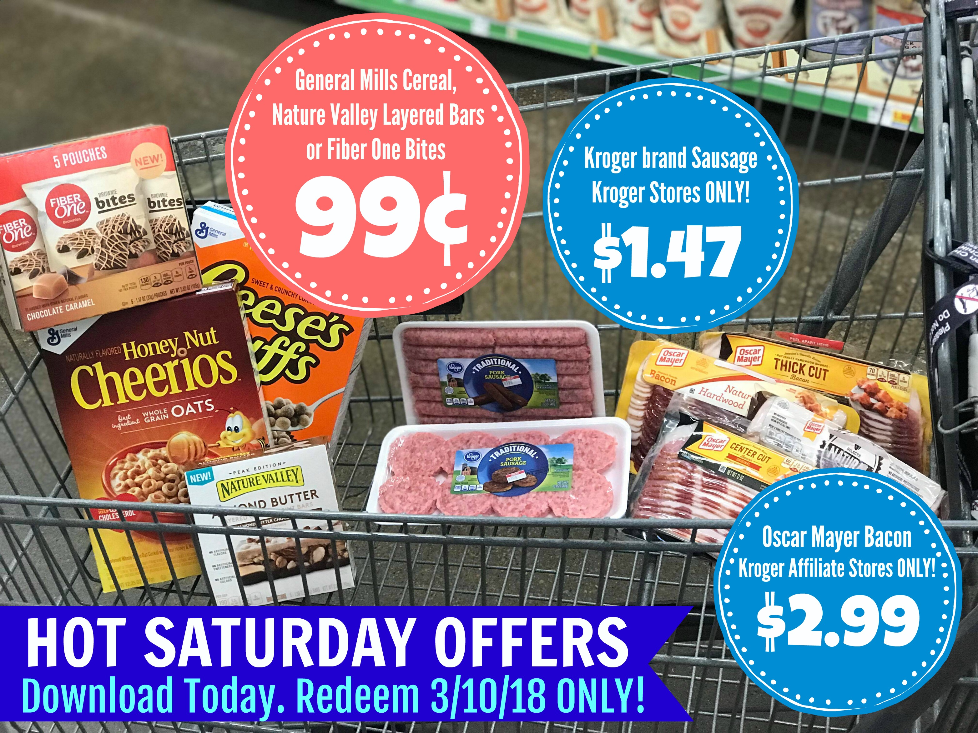 photograph regarding Oscar Meyer Printable Coupons named Very hot SATURDAY Specials In general Mills Cereal and Bars Merely