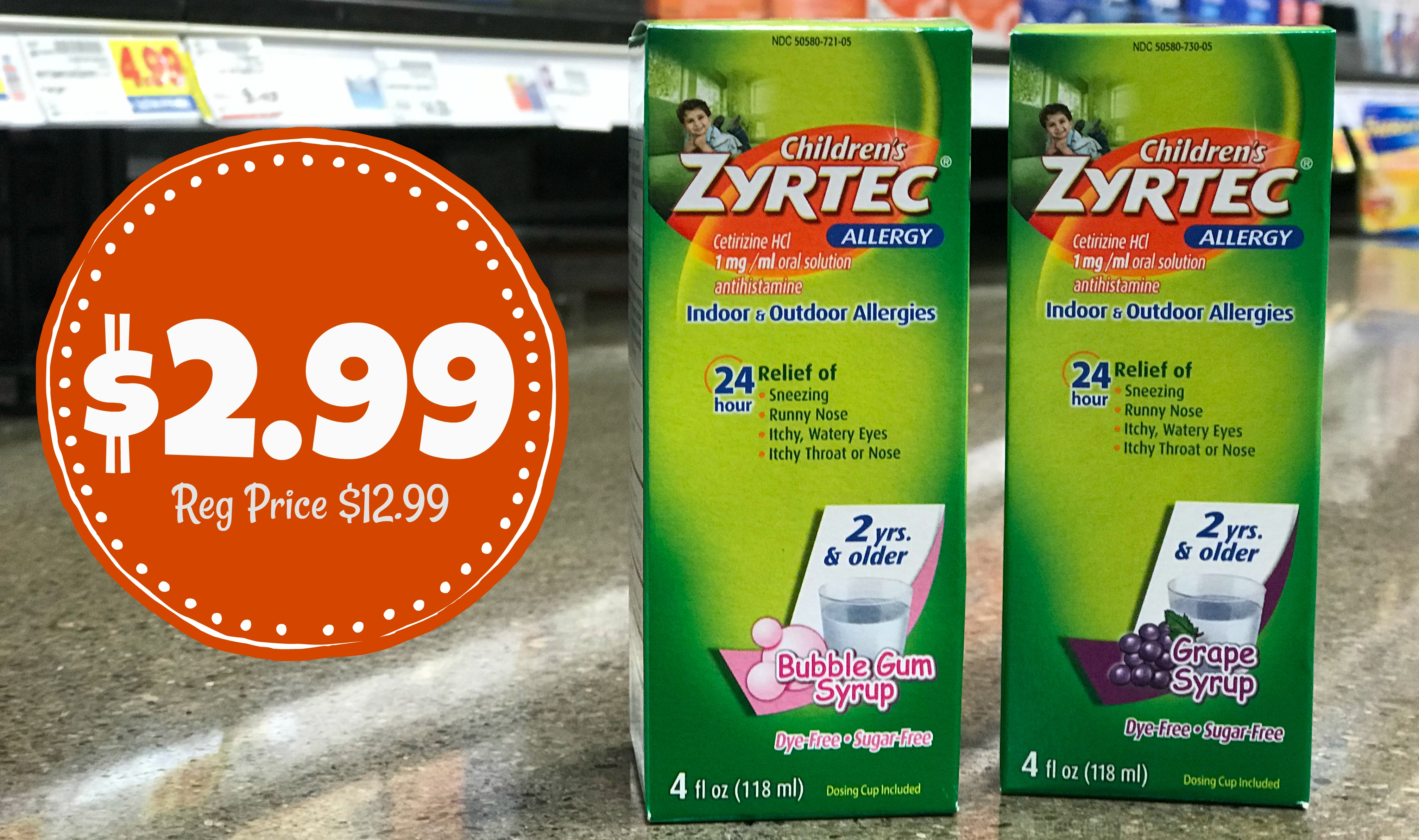 photo relating to Zyrtec Printable Coupon identified as Refreshing $4.00 Zyrtec Coupon Childrens Allergy Meds as reduced as