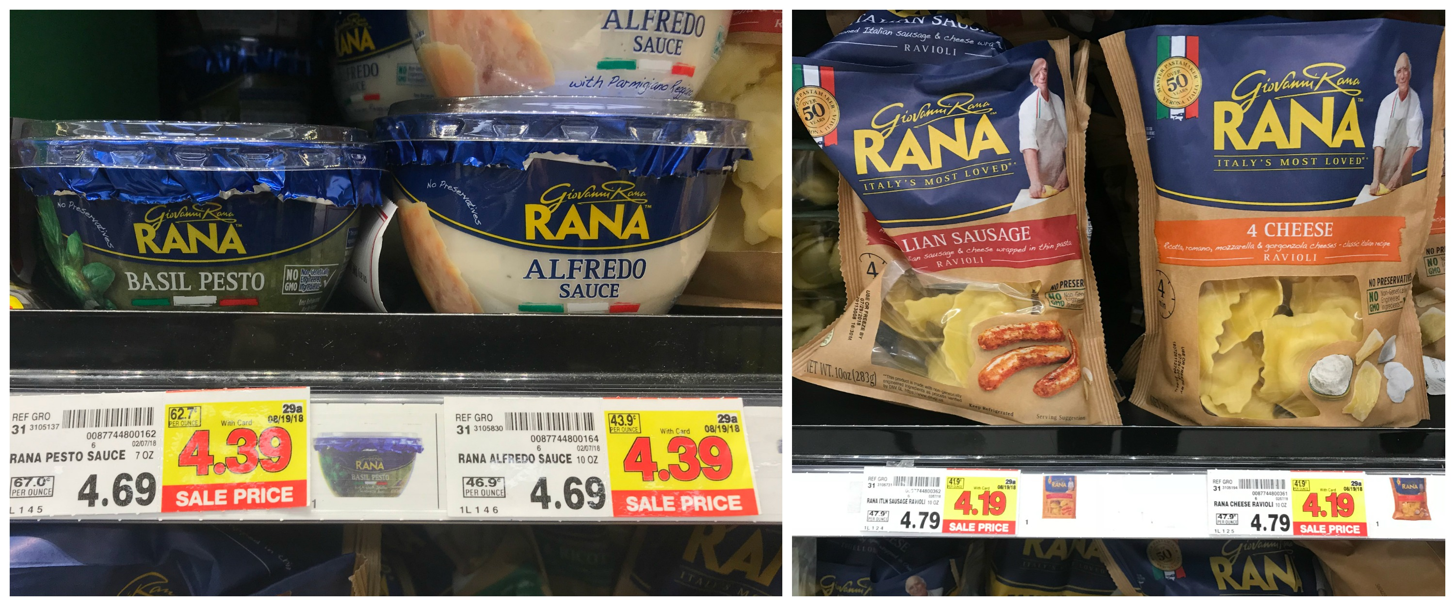 Giovanni Rana Pasta and Sauces as low as $3 19 at Kroger