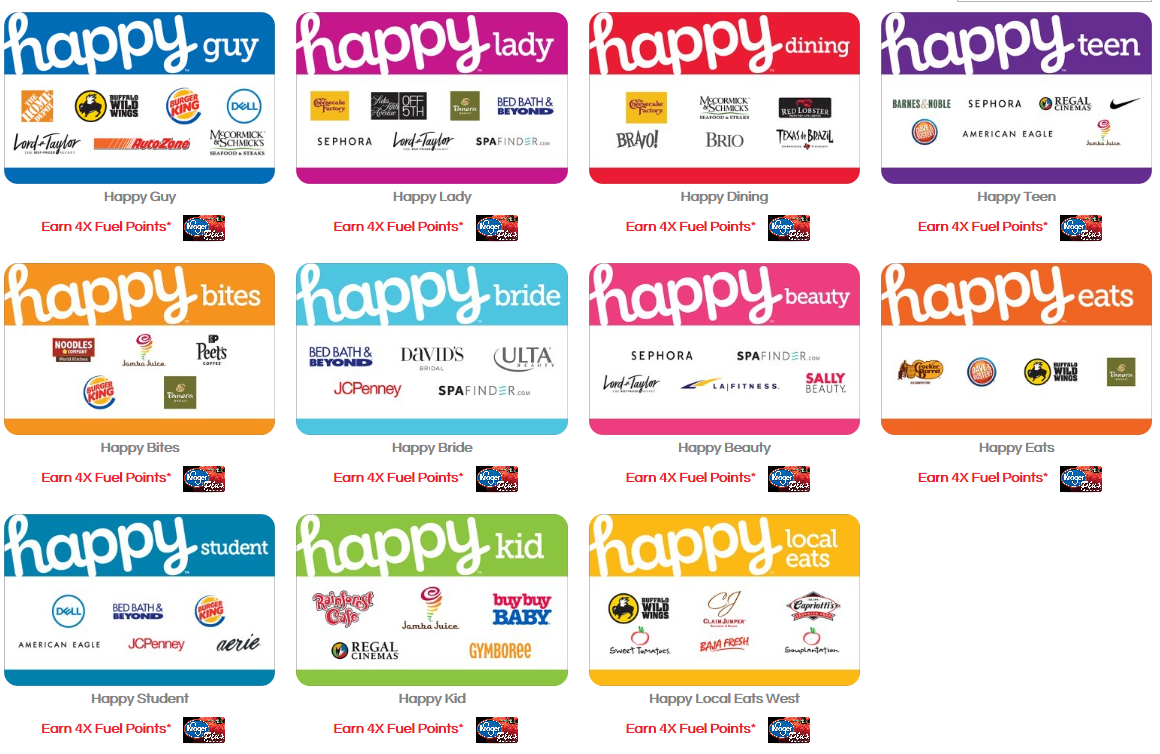 4x Fuel Points on Happy and Choice Gift Cards at Kroger ...Happy Gift Cards.com