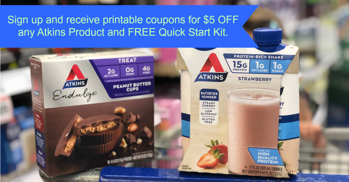 image relating to Atkins Printable Coupons named Atkins Rookie Package + $5.00 inside Printable Discount codes Kroger Krazy